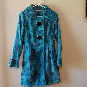 Pura Vida Blue/Black abstract Floral Jacket Artsy